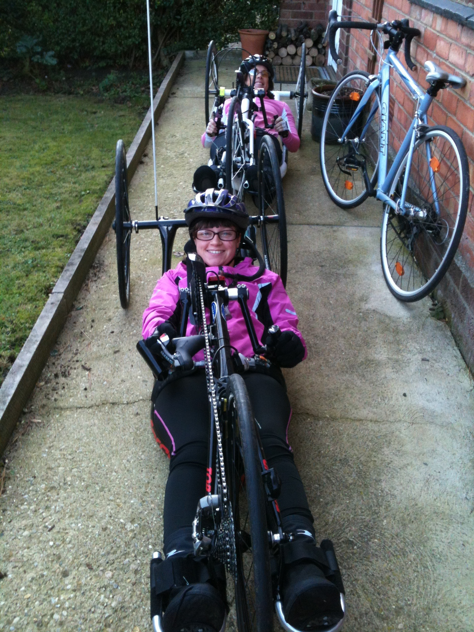 Sophie and I lining up in hand bikes on my path